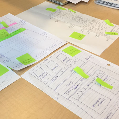 brainstorming wireframes for Cedarside Coach House