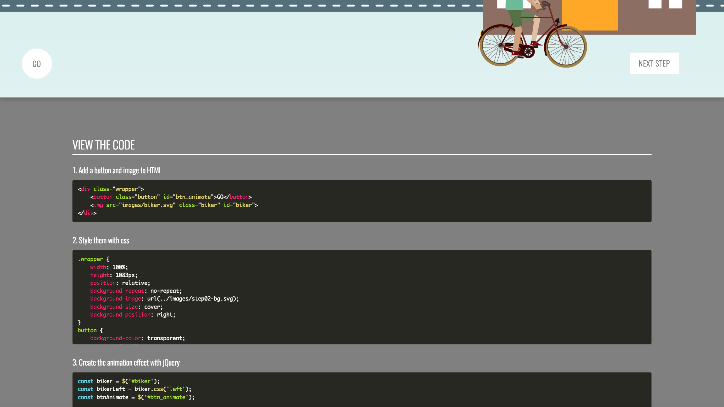 Image of step two code from Build a Hipster javascript tutorial website